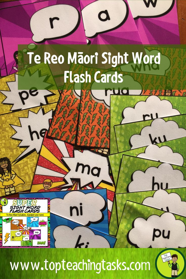 This te reo Maori sight word pack features 82 flash cards to help teach your students te reo Māori. These include the Māori alphabet, te reo Māori syllables, numbers to ten and the days of the week,  Use these flash cards as part of your Word Work Daily 5 activities, have the children use these with a partner, or send them home as a home-based task. You could also make two sets and play games such as Memory or Go Fish!