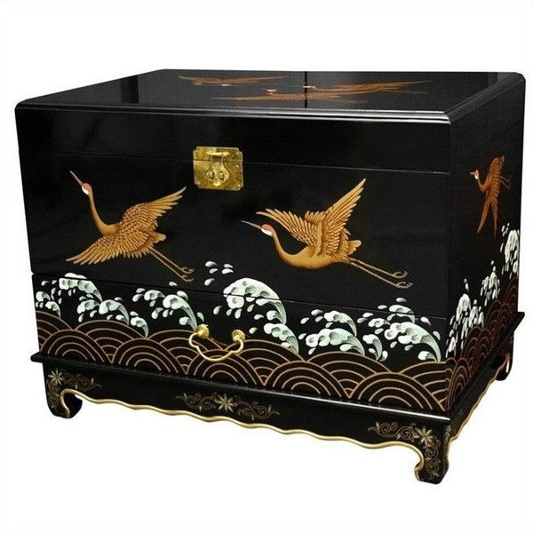 Oriental Furniture Trunk (2.370 RON) ❤ liked on Polyvore featuring home, home decor, small item storage, asian inspired home decor, black home decor, sea home decor, asian home decor and black trunk
