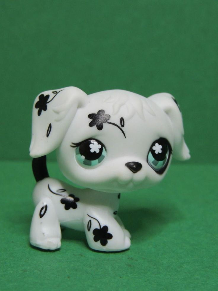 #469 chien dog puppy Black & White Flower Dalmatian LPS Littlest Pet Shop Figure