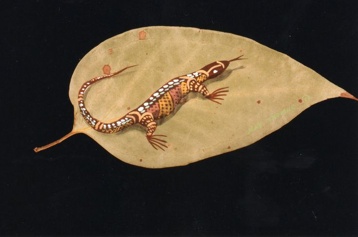 Bataluk (lizard) -1  Acrylic hand painted on Australian Gumleaf