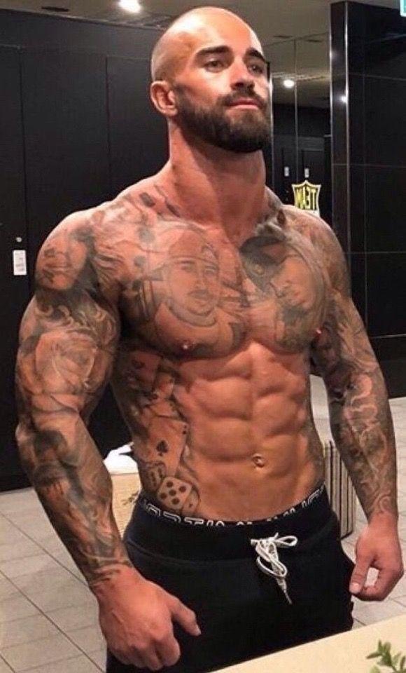 Nice Hombres Tatuados Barba Sin Bigote Hombres Musculosos