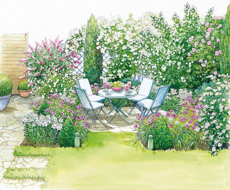 In unserer ersten Gestaltungsidee wird ein Sitzplatz auf einer Pflasterfläche angelegt, der umkreist wird von schmalen blütenreichen Beeten