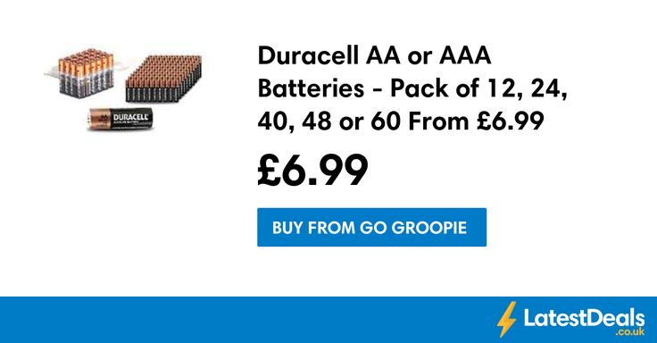 Duracell AA or AAA Batteries - Pack of 12, 24, 40, 48 or 60 From £6.99 at Go Groopie