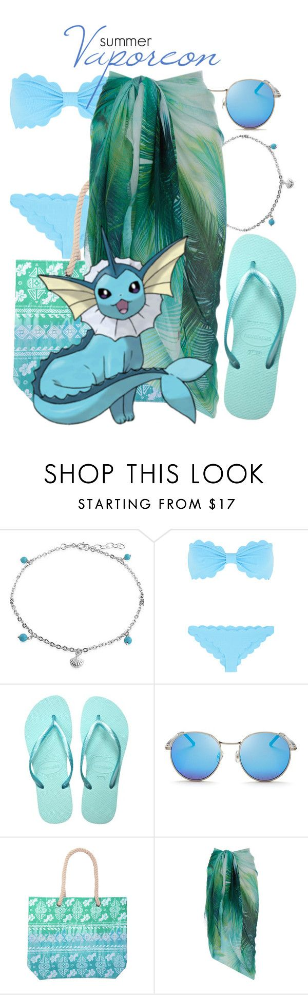 """Pokemon Beach: Vaporeon"" by freezespell ❤ liked on Polyvore featuring Bling Jewelry, Marysia Swim, Havaianas, Wildfox and Accessorize"