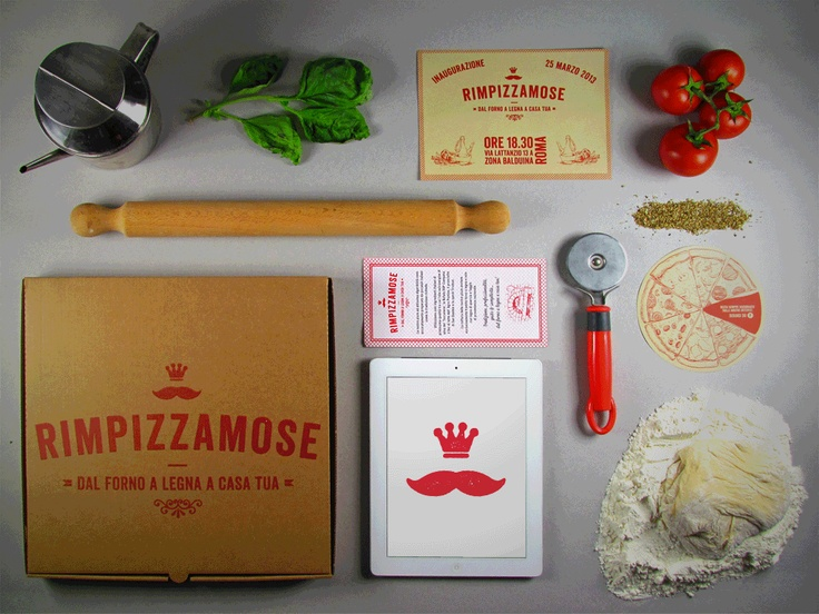 Concept, Branding, Graphic & Print, Packaging of the Italian Take Away & Delivery Rimpizzamose. #lutherdsgn   www.lutherdsgn.com