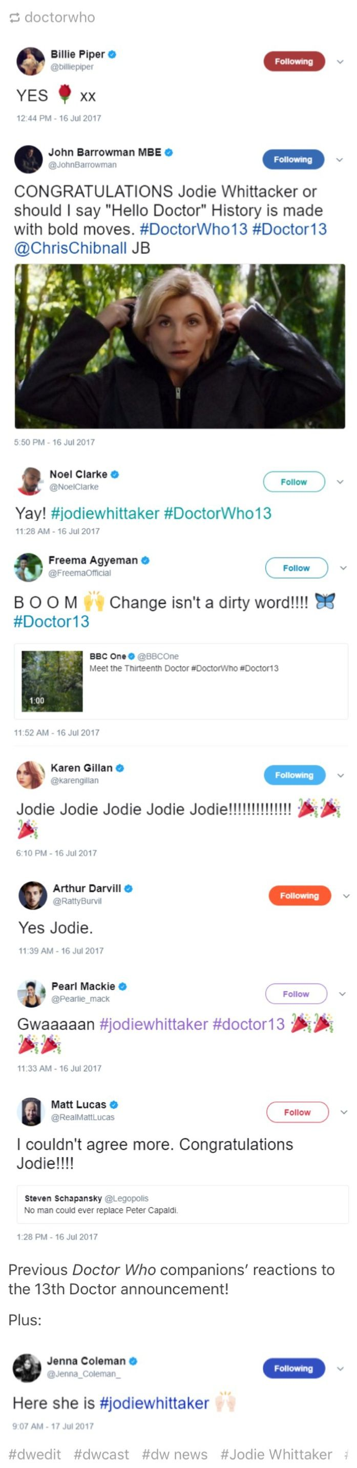 Previous Doctor Who companions' reactions to the 13th Doctor announcement! regenerationofthedoctor.tumblr.com