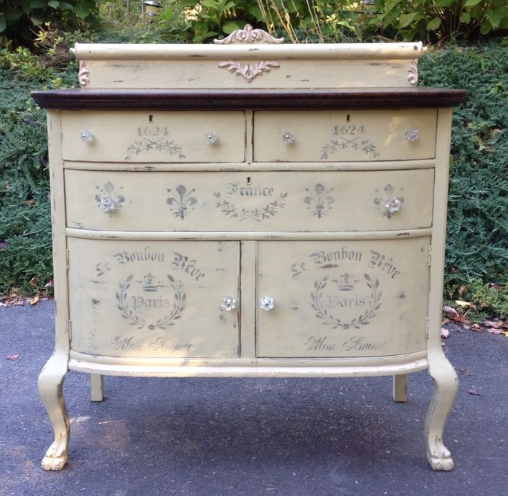 Chalk Painted Shabby Chic Sideboard With French Time Worn Stencils