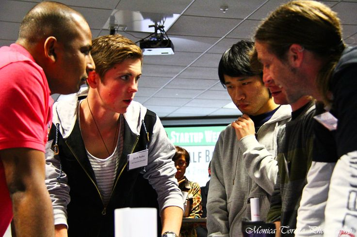 Fully focused on the task at hand, at the opening night of the Invercargill Start Up Weekend.  July 26, 2013.