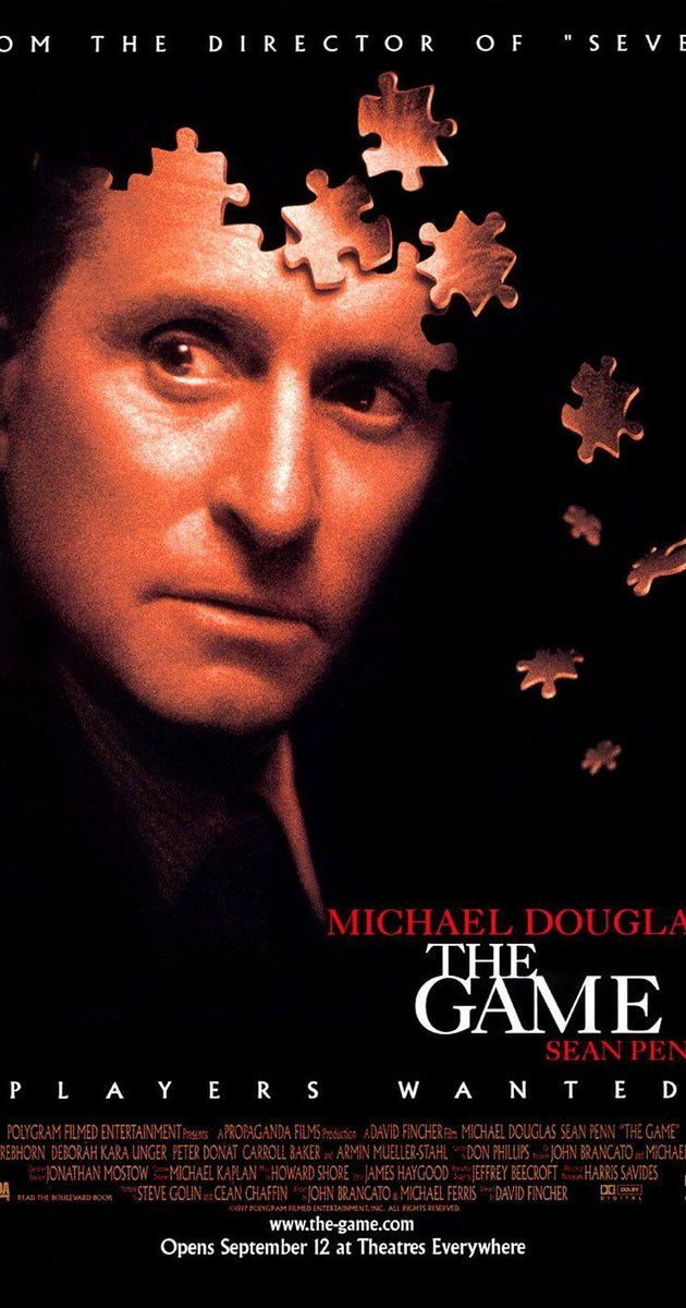 Directed by David Fincher.  With Michael Douglas, Deborah Kara Unger, Sean Penn, James Rebhorn. After a wealthy banker is given an opportunity to participate in a mysterious game, his life is turned upside down when he becomes unable to distinguish between the game and reality.