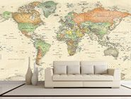 Antique Oceans World Political Map Wall Mural in Room