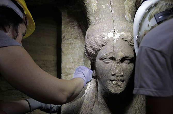 Is It the Tomb of Alexander the Great's Mum? Female Carytid Sculptures Guarding Mysterious Tomb in Greece lend additional support to the earlier found sphinxes that tomb belonged to a fourth century BC Queen
