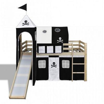 WHITE LABEL - Lettino-WHITE LABEL-Lit mezzanine bois avec échelle toboggan et déco noir