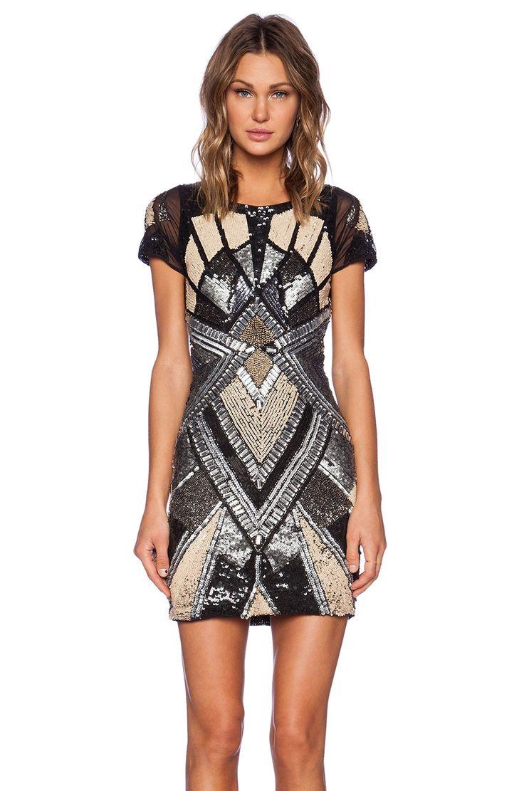 La Maison Sequin Kaleidoscope Dress in Ivory & Gunmetal