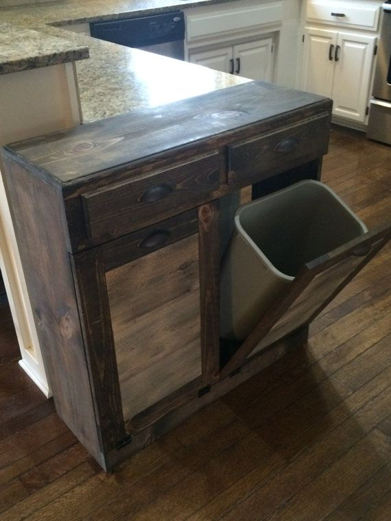 Double trash recycle bins two drawers rustic tilt by Lovemade14
