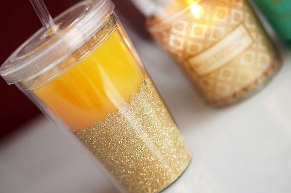 DIY   Glitter beker voor je smoothies ~ Beautyill   Beautyblog met nail art, nagellak, make-up reviews en meer!