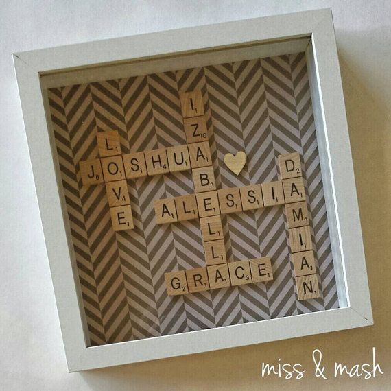 PLEASE CONTACT US PRIOR TO PURCHASING SO THAT WE CAN CREATE A CUSTOM LISTING FOR YOUR ORDER Our personalised scrabble artwork is made to order in a 10
