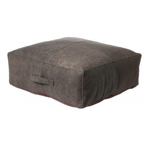 "ROY Pouf Leather Antique Gray,24x24x8"" - Light & Living"