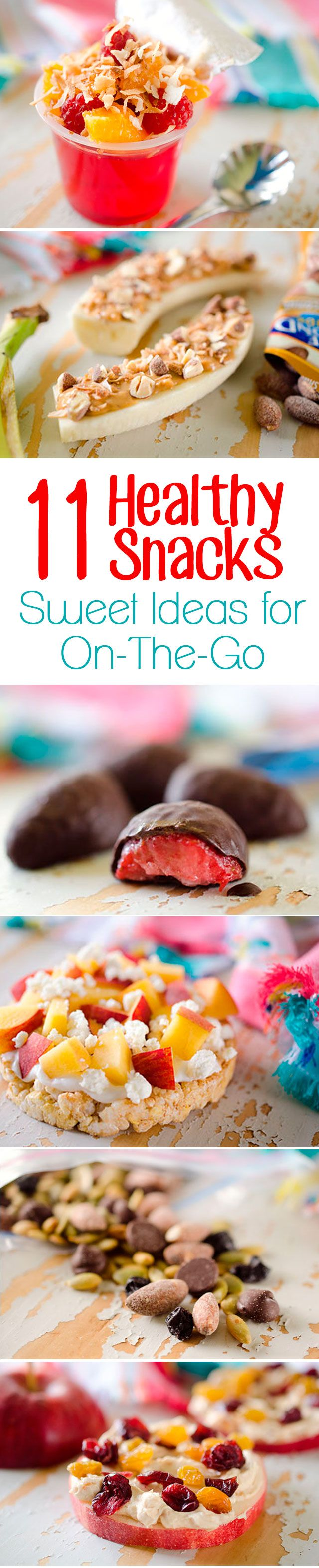 This list of 11 Healthy Snacks - Sweet Ideas for On-The-Go is amazing! These unique treats are quick snack ideas that are loaded with protein