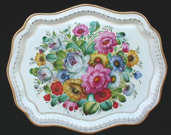 russian zhostovo tray on white