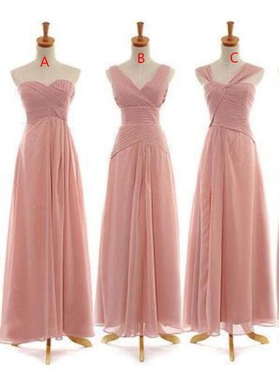 ac5bf82b0fed8 Dark Pink Chiffon Long Mismatch Bridesmaid Dresses, Lovely Wedding Party  Dress 2019 Prom Dresses 2018
