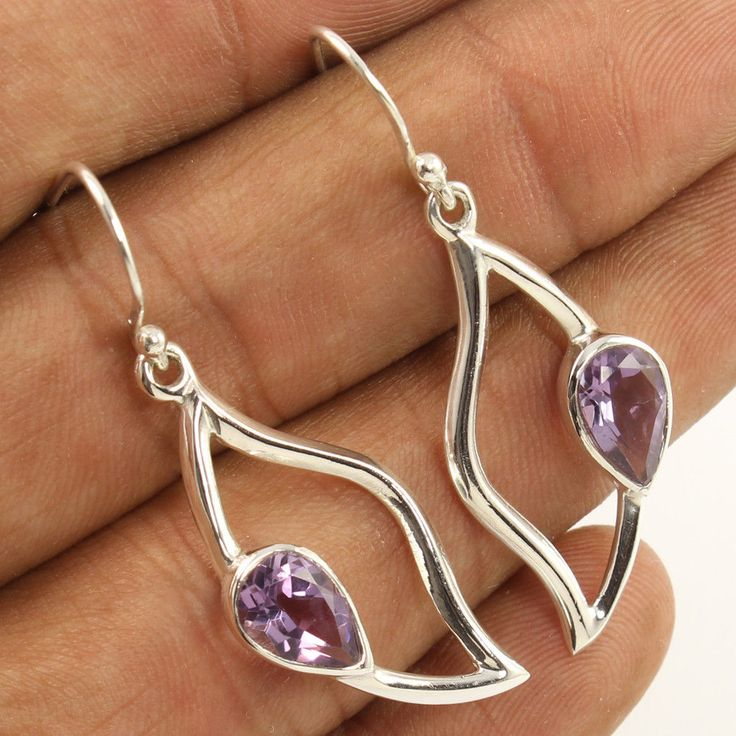 Natural AMETHYST Pear Faceted Gemstones New Stylish Earrings 925 Sterling Silver #Unbranded #DropDangle