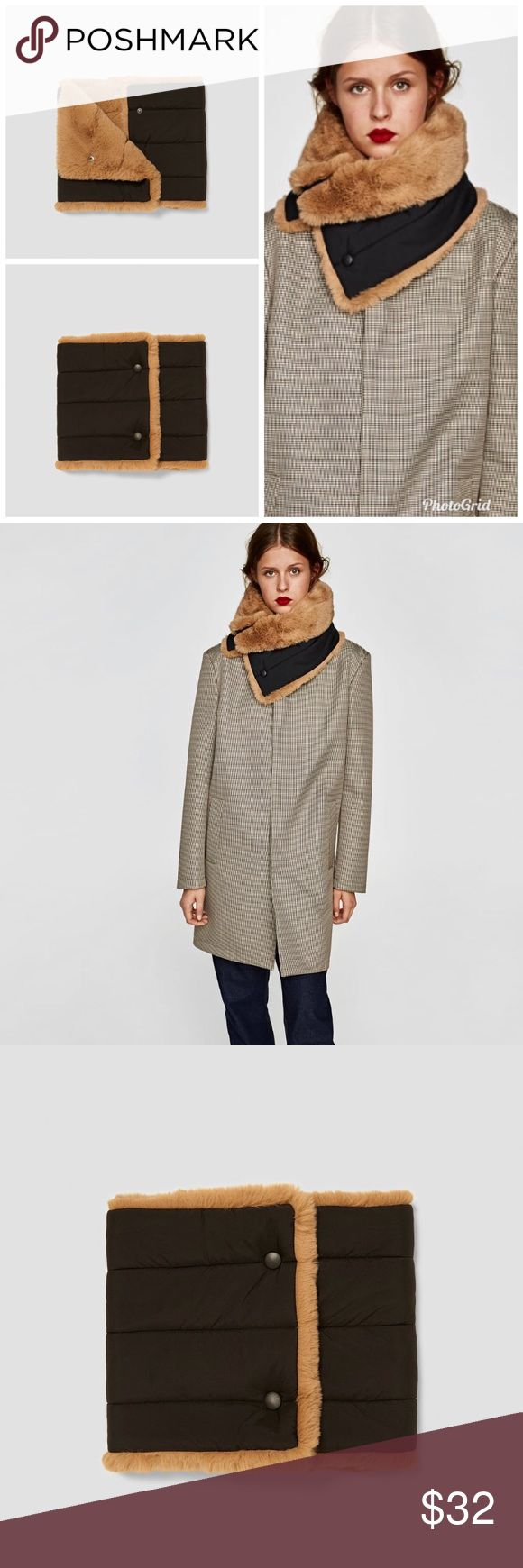ZARA Reversible Warmer 🧣 Reversible neck warmer in faux fur and quilted fabric. Color: Camel Zara Accessories Scarves & Wraps