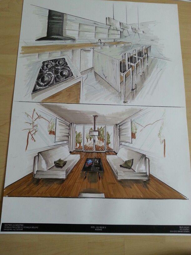 Konut mutfak ve yaşam mekanı perspektifi