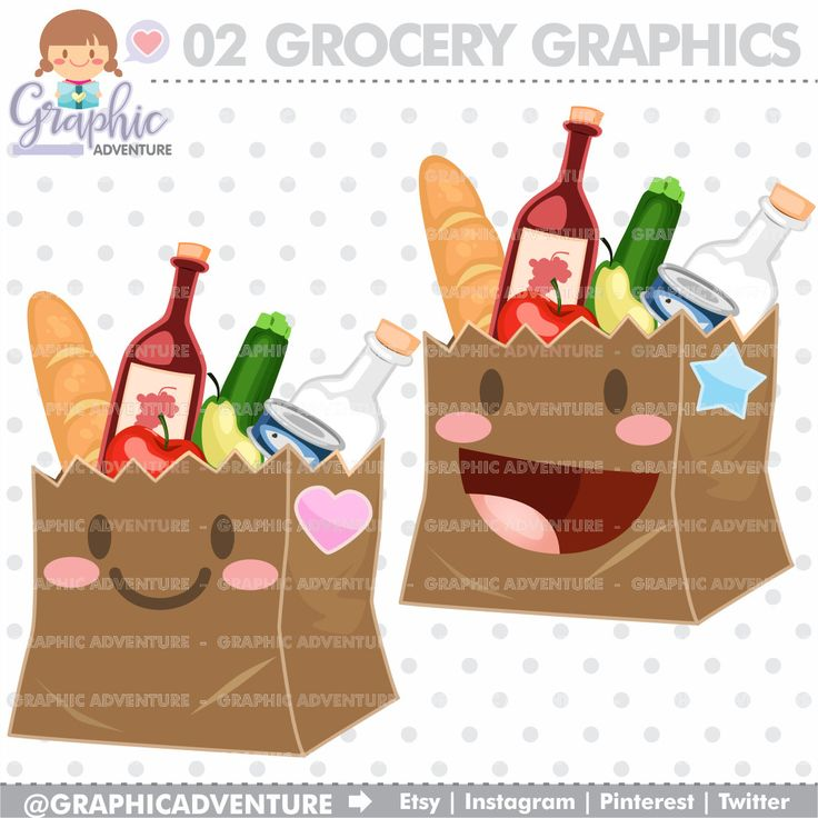 Grocery Cliparts, Grocery Graphics, COMMERCIAL USE, Kawaii Clipart, Groceries, Planner Accessories, Shopping Clipart, Paper Bag Clipart