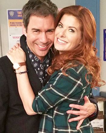 Will & Grace costars Debra Messing and Eric McCormack reunited on the set of Messing's new show The Mysteries of Laura -- see the sweet pics!