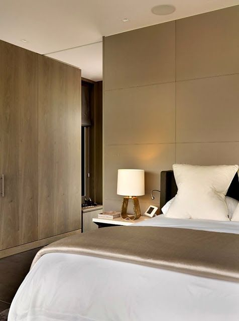 Muted Classic Contemporary Bedroom With Upholstered Headboard Wall And Wood Finish Cabinetry A House In Berkshire United Kingdom By Gregory Phillips