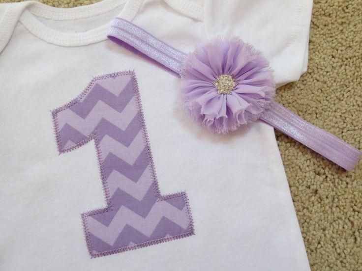 Lavender Chevron Birthday Onesie
