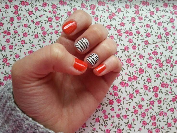 #nails #cebra #printanimal #orange #nailart #nailpolish