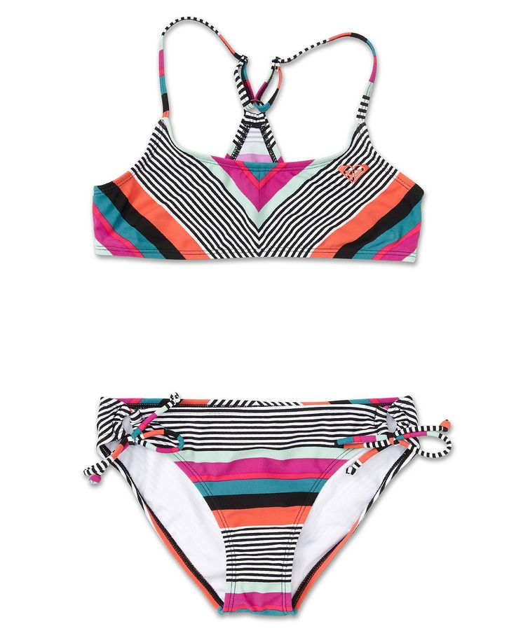 Roxy Kids Swimsuit, Girls Striped Two-Piece Swimsuit - Kids Girls 7-16 - Macy's