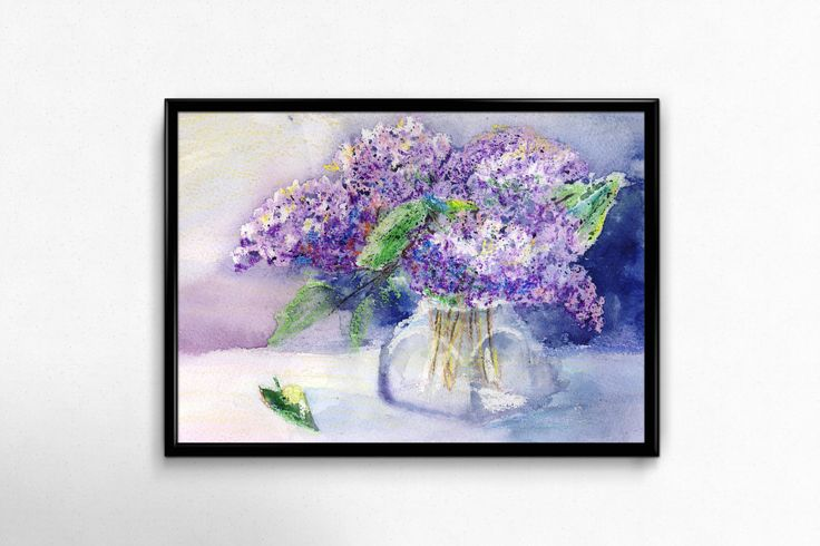 Flower Print, Printable Art, Lilac, Watercolor Flowers, digital Download, Blue Wall Art, Home Decor, Wall Decor by EkaDS on Etsy
