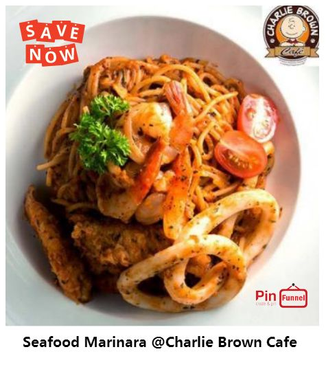 Seafood marinara spaghetti offer promotion in Orchard, now at Charlie Brown Cafe, Cathay Cineleisure Orchard mall.  How-to Recipe: Heat oil in a large frying pan over medium heat. Add onion and garlic. Cook, stirring, for 3 minutes. Add wine. ... Add pasta sauce and stock. Bring to the boil, stirring occasionally. Add marinara mix. ... Add marinara and parsley to pasta. Toss until well combined. Serve.  Check more out now here.