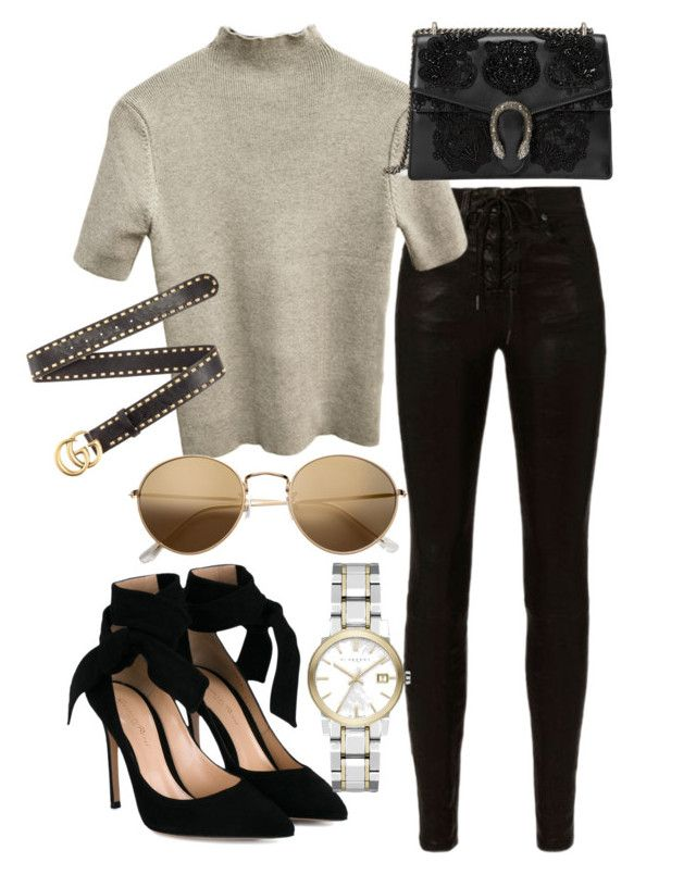 """""""Untitled #20889"""" by florencia95 ❤ liked on Polyvore featuring rag & bone, Gucci, H&M, Gianvito Rossi and Burberry"""
