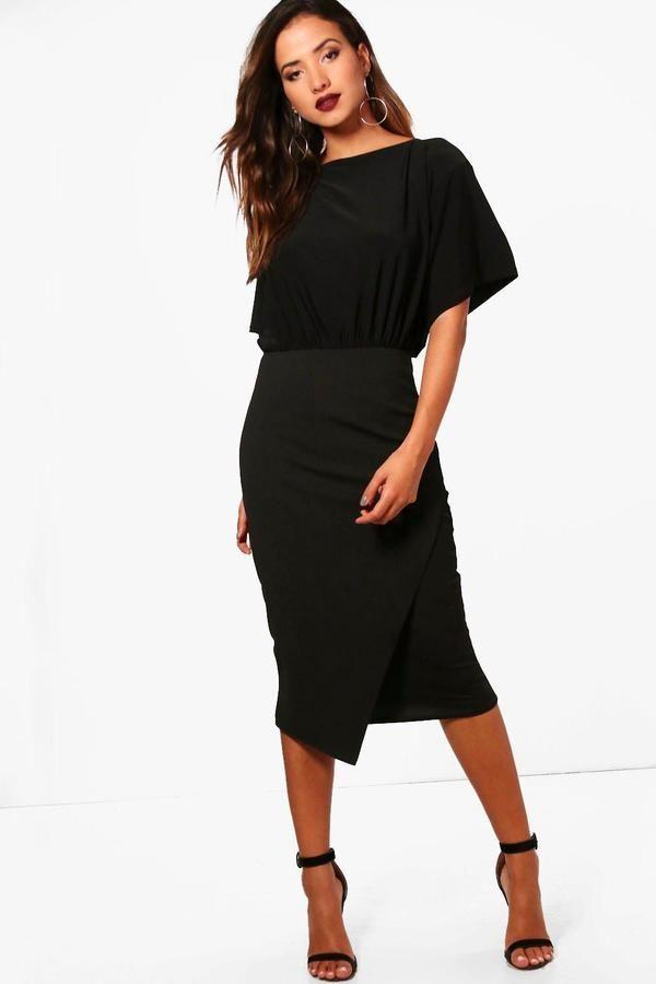 boohoo Elouise Batwing Top Wrap Midi Dress
