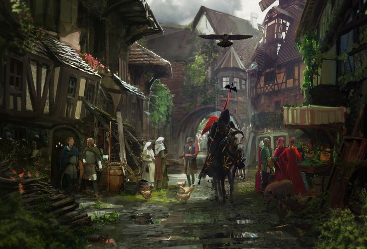 Medieval Town, Rhys Griffiths on ArtStation at https://www.artstation.com/artwork/medieval-town-67cb3169-4400-4d9c-97e5-67821fd1d3c4