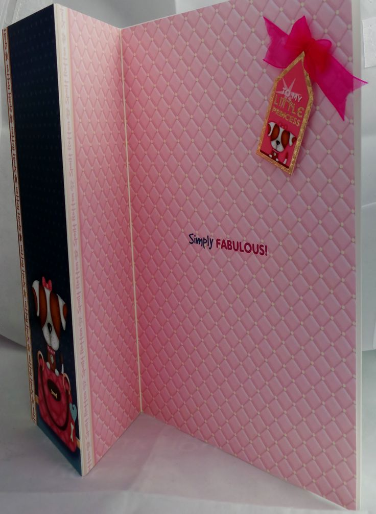 A5 half gate fold card with ribbon detail and hand made envelope, inside message is Simply fabulous