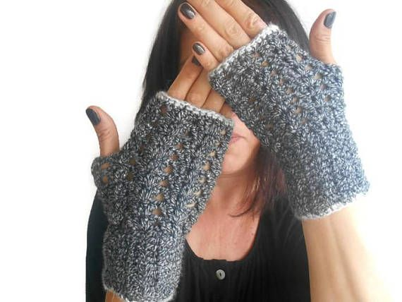 Black Knitted Gloves, Women Knit Glove, Black Hand Made Gloves, Hand Knitted Glove, Fingerless Knitted Glove, Women Accessories, Boho Glove    100% handmade.  Black and white mixed acrylic yarn.  Gray thread on the edges  Made of soft yarn.  Boho-style gloves.  You can wear these arm warmers with any clothes.  These handheld heaters are soft and comfortable.  It will add elegance to your hand.  COLOR: Black and white mixed yarn  Width 3 /// Height 7.5  Maintenance Instruction  ...