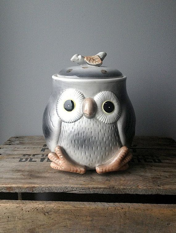 Vintage Owl Cookie Jar Pinned by www.myowlbarn.com