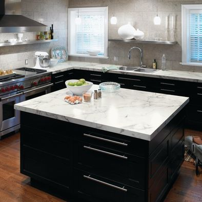 Google countertops and white counters on pinterest for Black cabinets with marble countertops