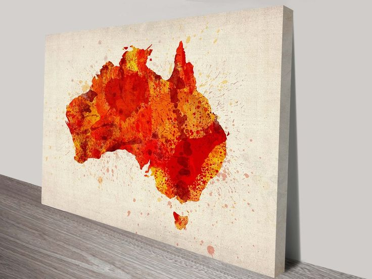 Red Australia Typographic Text Map By Michael Tompsett