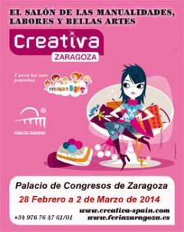 CREATIVA ZARAGOZA  Llega la oportunidad de visitar el Salón Creativa para las y los que estéis en Zaragoza del 28 de febrero al 2 de marzo. Acercaos al Palacio de Congresos y podréis disfrutar de la infinidad de talleres, concursos, desfiles y actividades que ofrece.   http://www.creativa-spain.com/?utm_source=Newsletter-2014-02-14&utm_medium=Email&utm_campaign=CreativaSpain-2014