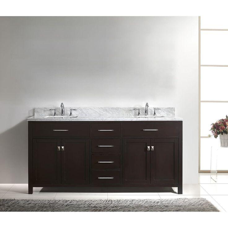 Contemporary Art Websites Virtu USA Caroline inch Carrara White Marble Double Bathroom Vanity Set with No Mirror
