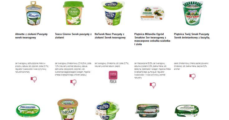 Czytamy skład i porównujemy etykiety produktów Serki kanapkowe z ziołami. Zobacz skład i polecane produkty przez Czytaj Skład