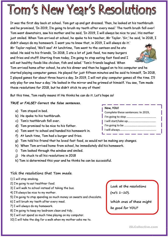 Tom S New Year S Resolutions Reading Comprehension Worksheets New Years Resolution Reading Worksheets