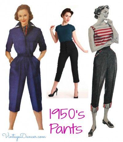 Women's 1950s Pants: Cigarette, Capri, Jeans Fashion History