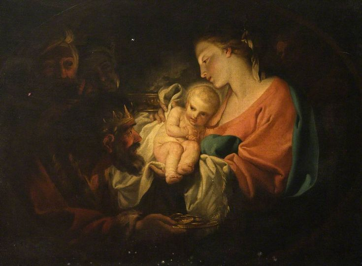 """""""And on entering the house they saw the child with Mary his mother. They prostrated themselves and did him homage. Then they opened their treasures and offered him gifts of gold, frankincense, and myrrh."""" Matthew 2:11 // The Adoration of the Kings / La adoración de los Reyes Magos // Antonio Balestra (1666–1740) // Hospitalfield // #Epiphany"""