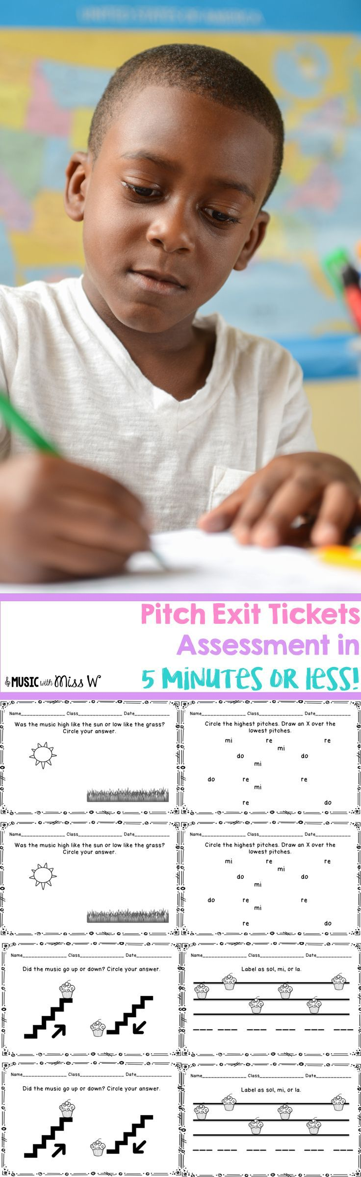 Assess your students on pitch in 5 minutes or less! Love that this set comes with 20 different exit tickets/exit slips. It's an easy way to take grades and show progress with my elementary music students.